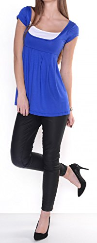 Glamour Empire. Damen Kurzarm Top Stillshirt Lagendesign Empire-Taille. 960 Königsblau