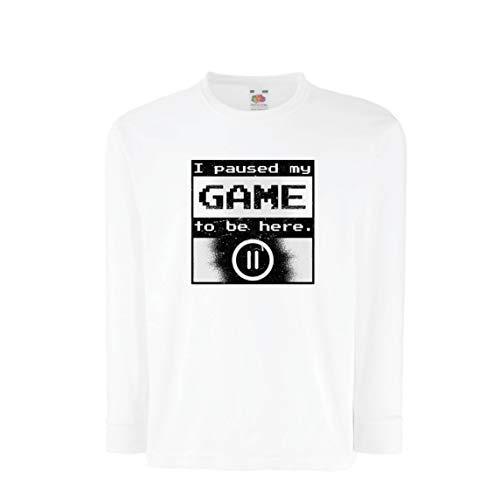 lepni.me Kinder-T-Shirt mit Langen Ärmeln Ich pausierte Mein Spiel, um Hier Hemd zu Sein, Gamer lustiges Geschenk (7-8 Years Weiß Mehrfarben)