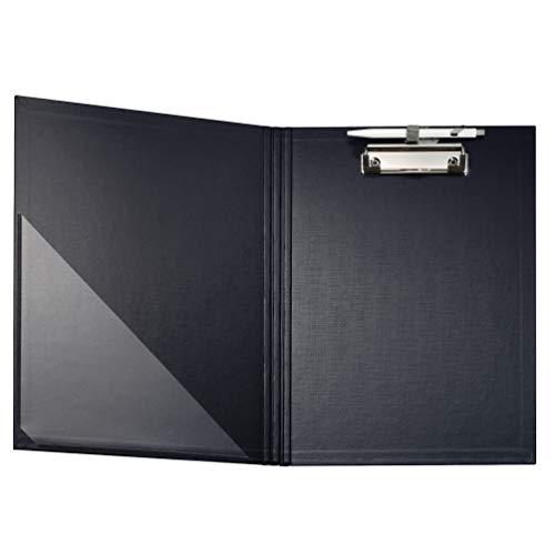 Falken Premium Klemmbrett-Mappe mit stabilem Pappkern und Kunststoffbezug außen und innen für DIN A4 mit Tasche im Vorderdeckel mit Stiftehalter schwarz ideal für Inventur und Lagerwirtschaft