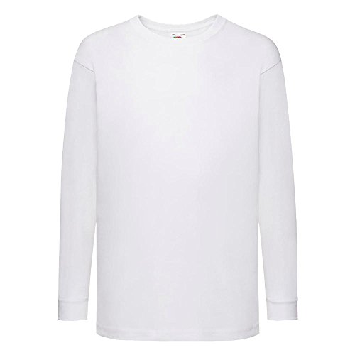 Fruit of the Loom - Kids Langarm T-Shirt Value Weight T 116,White (Jungen Langarm Pullover)