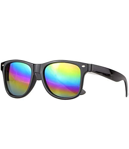 Caripe Retro Nerd Vintage Sonnenbrille verspiegelt Damen Herren 80er - SP (schwarz - Rainbow verspiegelt)