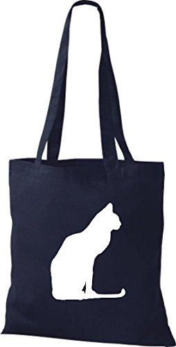 Crocodile chat chaton leur coton sac à bandoulière, sac de plusieurs couleurs Bleu - Bleu marine