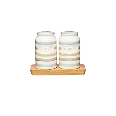 KitchenCraft Classic Collection Vintage-Style Ceramic Salt and Pepper Shakers with Wooden Tray (3-Piece Set)