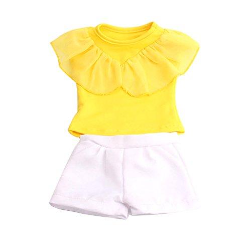 MagiDeal Süße Puppekleidung Set - Kurzärmelig T-shirt + Hosen - Puppe Outfit für 18 '' American Girl Puppe - B (T-shirt Baby-puppe Prinzessin)