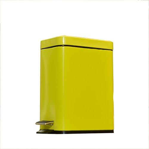 WOAINI Rechteckige kleine Stahlstufe Mülleimer Papierkorb, Mülltonne für Badezimmer, Pulver Zimmer, Schlafzimmer, Küche, Bastelraum, Büro / 10,6 x 6,3 x 15,3 Zoll (Color : Green) (Mülltonne Zimmer)