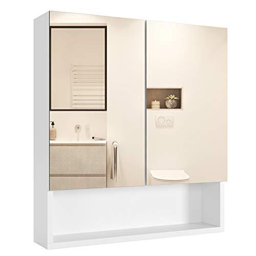 Homfa Armario Baño con Espejo Armario de Pared Armario Cocina Colgante con 2 Puertas 3 Compartimentos...