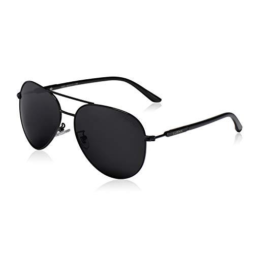 Uomo occhiali da sole aviatore polarizzate di guida con il caso - protezione uv 400 nero telaio nero lenti 60 mm