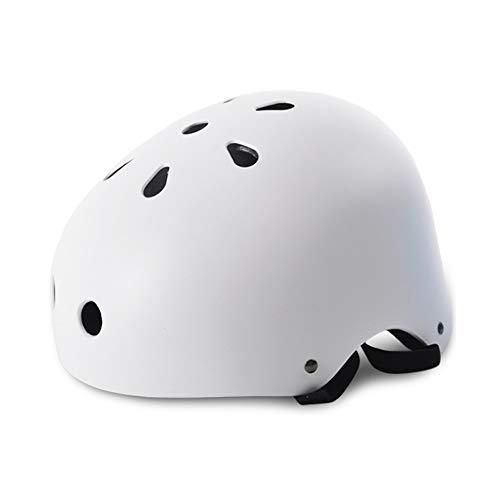 Fahrradhelme Helme für Skateboarding Zum Schutz des Kopfes Einstellbare Größe Geeignet für Kinder und Erwachsene Geeignet für Outdoor-Skateboarding und Klettern (Color : White, Size : 54-58cm)