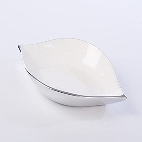 Large Enamel Aluminium Leaf Shaped Dish. Clean contemporary