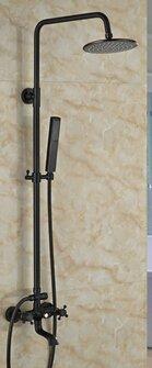 Oil Rubbed Bronze Dual Handles Rain Shower Faucet Round Shower Head Mixer Tap W/ Hand Shower,Black