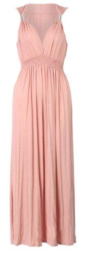 Fast femme fashion spiral viscos'élastique été maxi robe en jersey - Dusty Pink