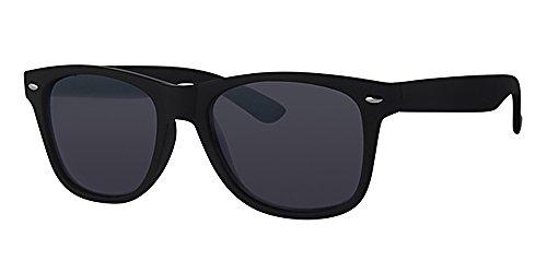 Sonnenbrille im Wayfarer-Stil, schwarzer Rahmen, schwarze Gläser, mit Brillenband in gelb, Unisex