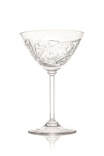 Martini Cocktail Crystal Glasses, Set of 6. 180 ml. Hand Made, Hand Cut, Gift Box Crystal-martini-cocktail