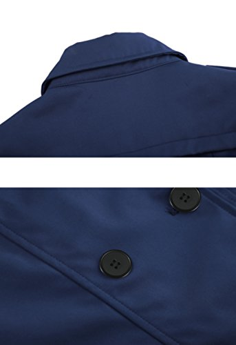 Wantdo Damen Mantel Zweireiher Lange Trenchcoat mit Gürtel Navy Small - 4