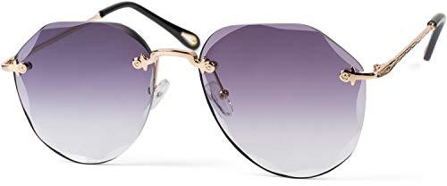 styleBREAKER Damen Piloten Sonnenbrille Rahmenlos mit getönten Gläsern im Diamant Schliff, Geprägte Bügel, Vieleckige Gläser 09020106, Farbe:Gestell Gold/Glas Grau Verlauf