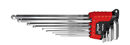 Wiha Stiftschlüssel Set im ErgoStar Halter zum Auffechern der einzelnen Schlüssel  Sechskant-Kugelkopf, schwenkbar für schwer zugängliche Bereiche,  9-tlg. glanzverchromt (34753)