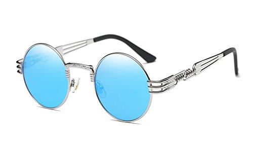 Runde Metalle Rahmen Spiegel Sonnenbrille Klassiker Steampunk Stil(Blau Spiegel+Silberrahmen) (John Lennon Brille Blau)