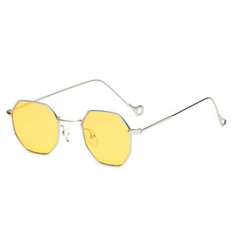 CHuangQi Achteckige Metallbrille Rahmen Marine Lens Transparente Sonnenbrille, für Männer und Frauen Modelle Europa und die Vereinigten Staaten Trend Ocean Sheet transparente Sonnenbrille