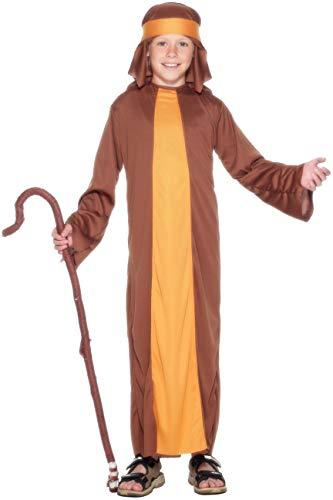 Kostüm Hirten - Kostüm Schäfer Braun mit Gewand und Kopfteil, Large
