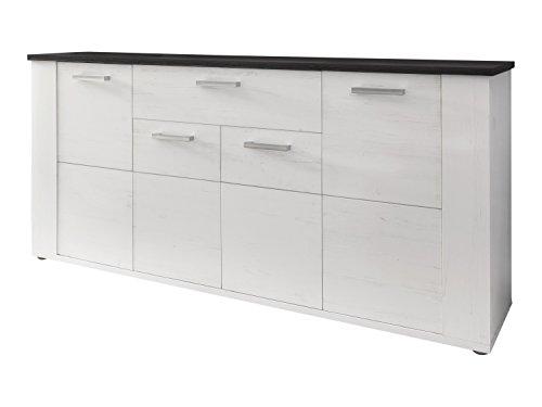trendteam DT87276 Sideboard Wohnzimmerschrank Weiss Pinie Landhausstil Nachbildung, BxHxT 167 x 77 x 40 cm