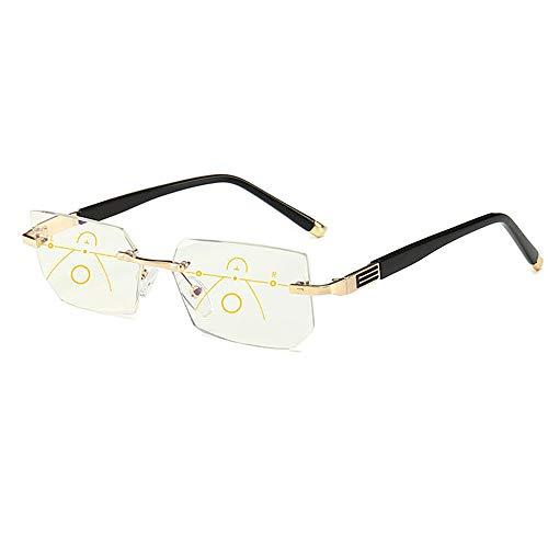 GLASSES Anti-Blu-ray Lesebrille, Männer Frauen Unisex intelligenter Zoom Anti-Müdigkeit Anti-Strahlung Brille, Besatz Rahmenlos Lesebrille, geeignet für ältere Alterssichtigkeit