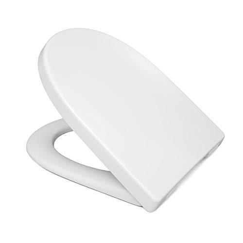 LUVETT WC-Sitz LU-D400 D-Form mit Absenkautomatik SoftClose® & TakeOff® EasyClean Abnahme, Duroplast Toilettendeckel, Farbe:Weiß