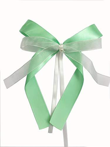 Liebchen & co 30x Schleifen aus Satin Hochzeitsdekoration Hochzeitsschleifen Antennenschleifen für Autodekoration Autoschleifen Dekoschleifen (Mint Weiss) -