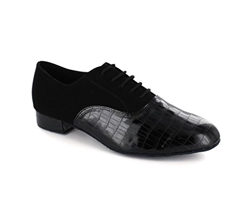 Minitoo da uomo jf250508Blocco a scacchi partito scarpe scarpe da danza latina Black