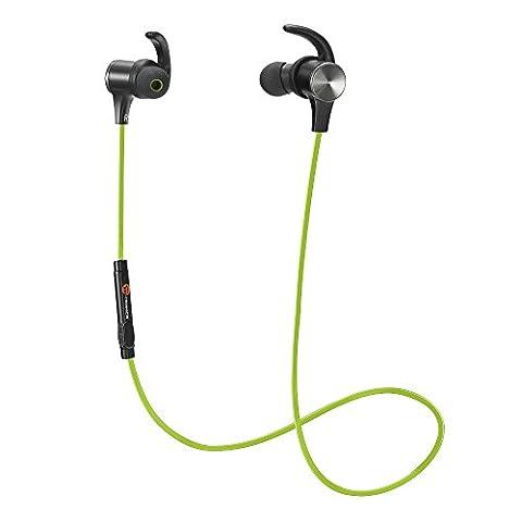 TaoTronics Bluetooth Kopfhörer 4.1 In Ear Ohrhörer Stereo mit Mikrofon, magnetische Headset AptX IPX5 Wasserschutz für Smartphone Handy iOS 6 6S Plus 5S 5 5C Android Galaxy S6 Edge S5 S4 Mini Grün