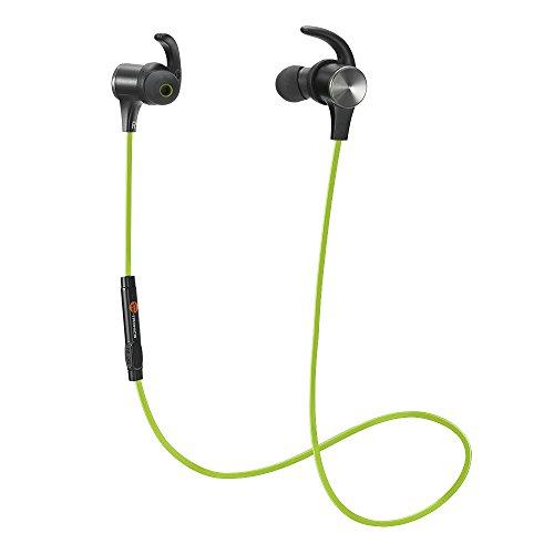 TaoTronics Bluetooth Kopfhörer 4.1 In Ear Ohrhörer Stereo mit Mikrofon, magnetische Headset AptX IPX5 Wasserschutz für Smartphone Handy iOS 6 6S Plus 5S 5 5C Android Galaxy S6 Edge S5 S4 Mini Grün (Bluetooth-kopfhörer Grün)