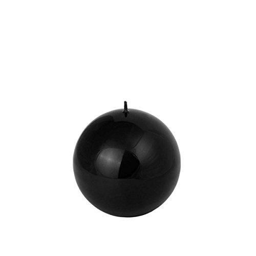 Negro brillante bola Velas en 4Tamaños Diferentes y en Juego, negro, 6 cm Kugelkerze