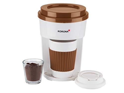 Korona 12202 Kaffeemaschine in braun-Filter Kaffeeautomat mit Becher to Go, weiß