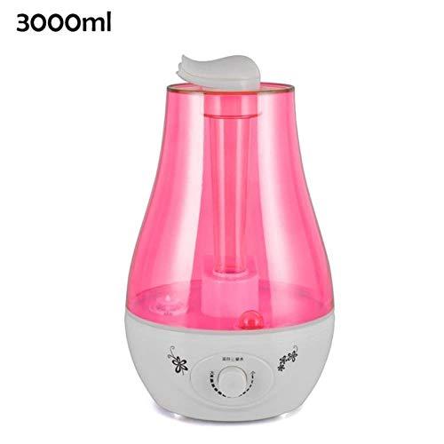 Humedecedor de aire de gran capacidad y 3L / 4L humidificador mini humidificador ultrasónico Aroma difusor niebla fabricante Mist Purificador de aire Humidificador Lámpara LED, rosado, EU