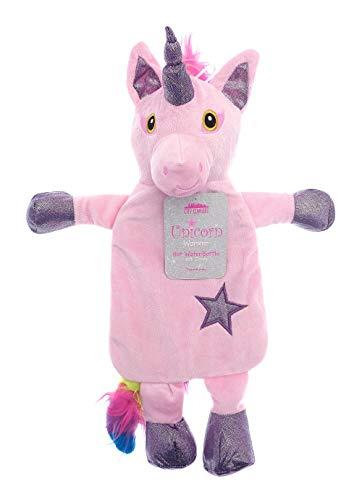 Kinder Wärmflasche mit Abdeckung 1L 100% Naturkautschuk Plüsch Peluche Kaninchen Koala Rentier Weihnachten Elf Rainbow Unicorn Geschenk Zubehör (Regenbogen Einhorn)