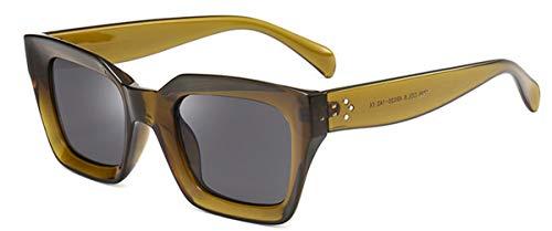 DYFDHA Sonnenbrillen Square Small Retro Sunglasses Women Cat Eye Brand Designer Sun Glasses 90S Ladies Rivet Clear Shades Eyeglasses UV400 green