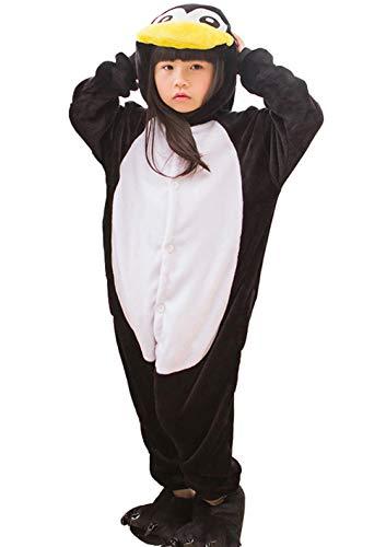 Pinguin Strampelanzug Kostüm - DATO Kinder Pyjamas Tier Pinguin Schwarz Overall Flanell Cosplay Kostüm Kigurumi Jumpsuit für Mädchen und Jungen Hohe 90-148 cm