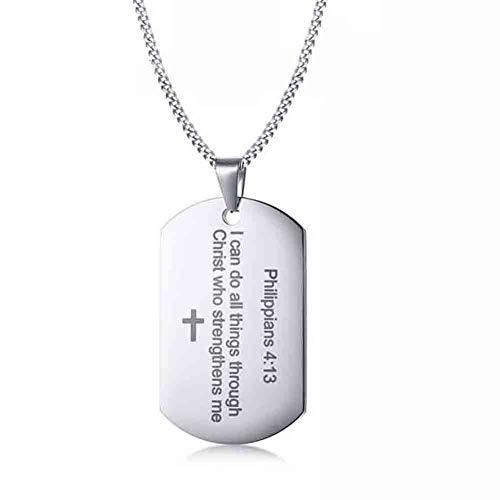 J.Memi.FA Herren Edelstahl Halskette Kreuz Dog Tag Bibel Anhänger Überzug 18K Gold Retro Klassiker Schmuck Geburtstag Geschenk,Silver (Für Erwachsene Bibel-kostüme)
