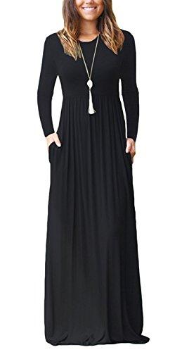 ZIOOER Damen Cocktailkleid Lange Ärmel Lose Maxi Kleider Partykleid Lange Kleid mit Taschen Schwarz XXL (Lange Jersey Ärmel Pullover)