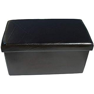 Ashley Mills New Large Ottoman Foldaway Storage Blanket Toy Box Bench Faux Leather Double 76x38cms (Black)