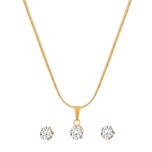 R K FASHION ACCESSORIES PVT LTD Gold Gold Plated American Diamond Studded Pendant Necklace Set For Women  available at amazon for Rs.149