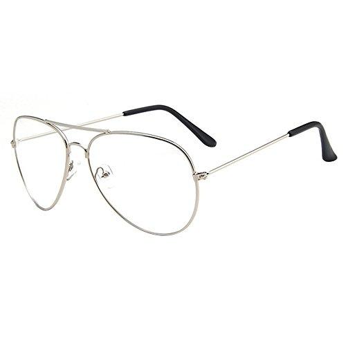 Forepin® Montura Gafas de Aviador para Unisex Hombre y Mujer con Montura de Metal-acero Fino Retro Vintage Lente Transparente Visión Clara - Plata
