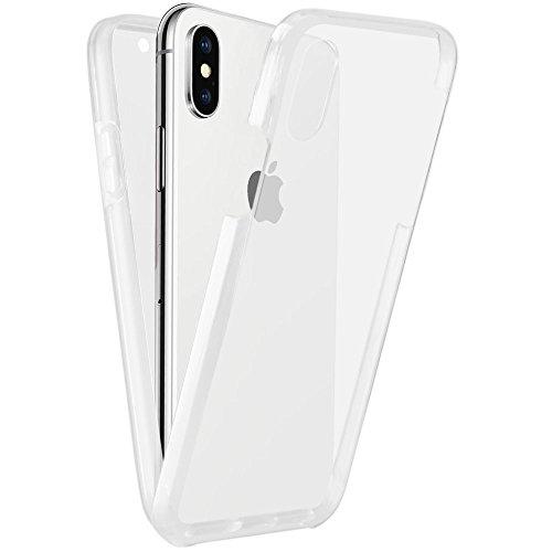 EGO® Double Touch Case für iPhone X komplette TPU Silikon Hülle 360 ° Grad vorne hinten Beidseitiger Schutz Full Handy Tasche transparent Front Back doppelseitig (Leichtes Knopf-front)
