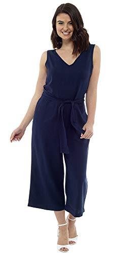 CityComfort Jumpsuits für Damen, Eleganter Sommer Jumpsuit, V-Ausschnitt, Ärmellos, Langer Jumpsuit, Playsuit mit Taschen, Jumpsuit Damen Sommer (42, Marine)
