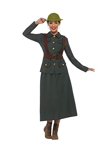 Kostüm Warden - Smiffys SMIFFY 'S 47537l 2. Weltkrieg Armee Warden Lady Kostüm, Damen, Grün, l-uk Größe 16-18