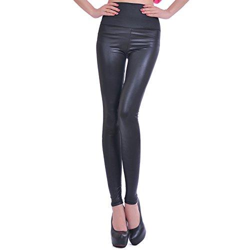 Mujeres Imitación De Cuero Negro De Mirada Pantalones Con Alta Cintura Color Negro L