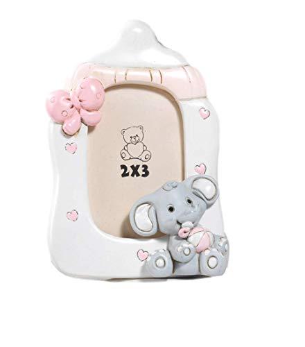 Paben battesimo portafoto elefante ciuccio rosa, 12 pezzi, 11 cm in resina, by