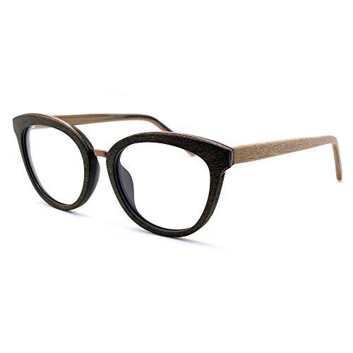 TIJN Women Woodgrain Cateye Eyeglasses Frame Faux Wooden Glasses