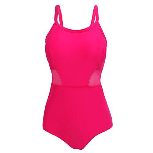 Shangrui Damen Bademode Series Dickere Feste Farbe Schlinge Strand Badeanzug(FZWH7705) 22Rosig