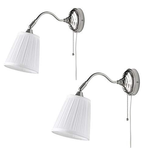 Zeitgenössische Wandleuchten 2 sätze Moderne LED Tischlampe-industriellen Stil Wohnzimmer Restaurant Hotel Gang Stoff Licht Auge Bett Einfache Kreative Wandleuchte (weiß) - Chrome Zeitgenössische-bett