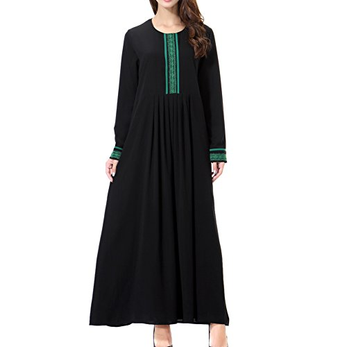 Deylaying islámico Apparel Cuello redondo Manga larga Applique Musulmán Mujer Kaftan Maxi Vestido Iglesia Plegaria Vestido Longitud completa Malasia Arabia Saudita Abaya Robe,TH903